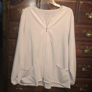 Jockey size L white zip scrub jacket with pockets